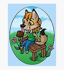 Summertime Treat - Coyote with Ice Cream Photographic Print