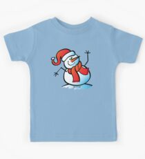 Snowman Waving Hello Kids Tee