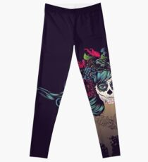 Sugar Skull Girl in Flower Crown 2 Leggings