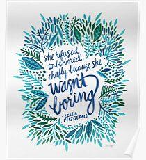Zelda Fitzgerald – Blue on White Poster