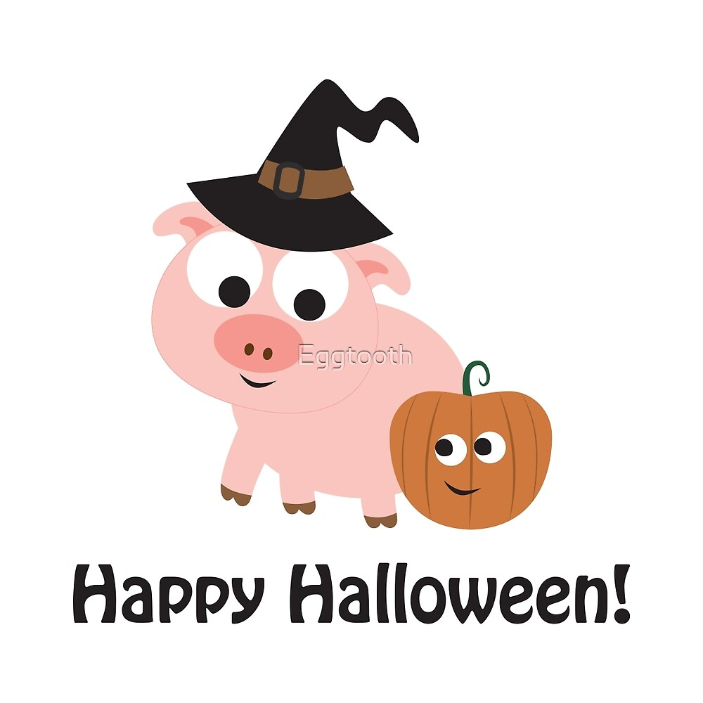 happy halloween pig witch