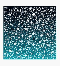 Silver Stars on Dark Blue Sky Background Photographic Print