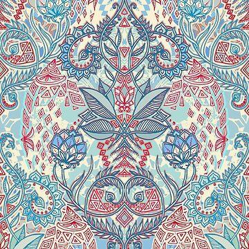 Geometría Botánica - patrón de la naturaleza en rojo, azul y crema de micklyn