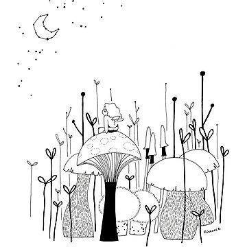 Bee on mushroom by roxanneb