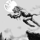 Leaping Lycanthrope ! by mattycarpets