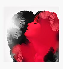 Psychedelic Ink Red Girl Photographic Print
