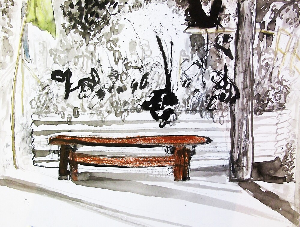 red wood bench by donna malone
