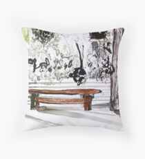 red wood bench Throw Pillow