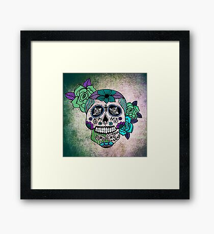 Sweet Sugar Skull blue edition Framed Print