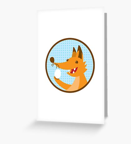 Cute little foxee with an egg Greeting Card