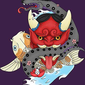 Oni Mask Tattoo by tuniit