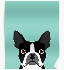Logan - Boston Terrier pet design with bold and modern colors for pet lovers Poster