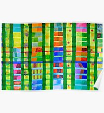 Coloured Fields With Bamboo Poster
