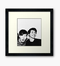 Black and White// Dan And Phil!!! Framed Print