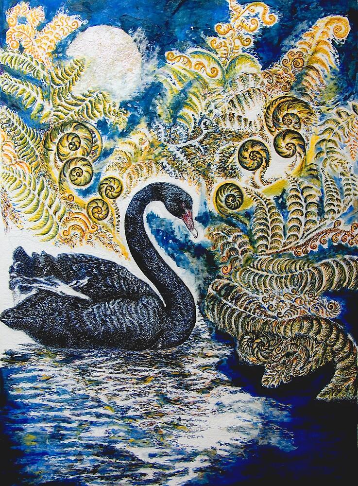 Black Swan & Tree Ferns. by HelenD