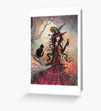 October Flame Witch Cat Halloween Fantasy Art Greeting Card