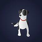 Minimalist Black and White Dog  by keenanzucker