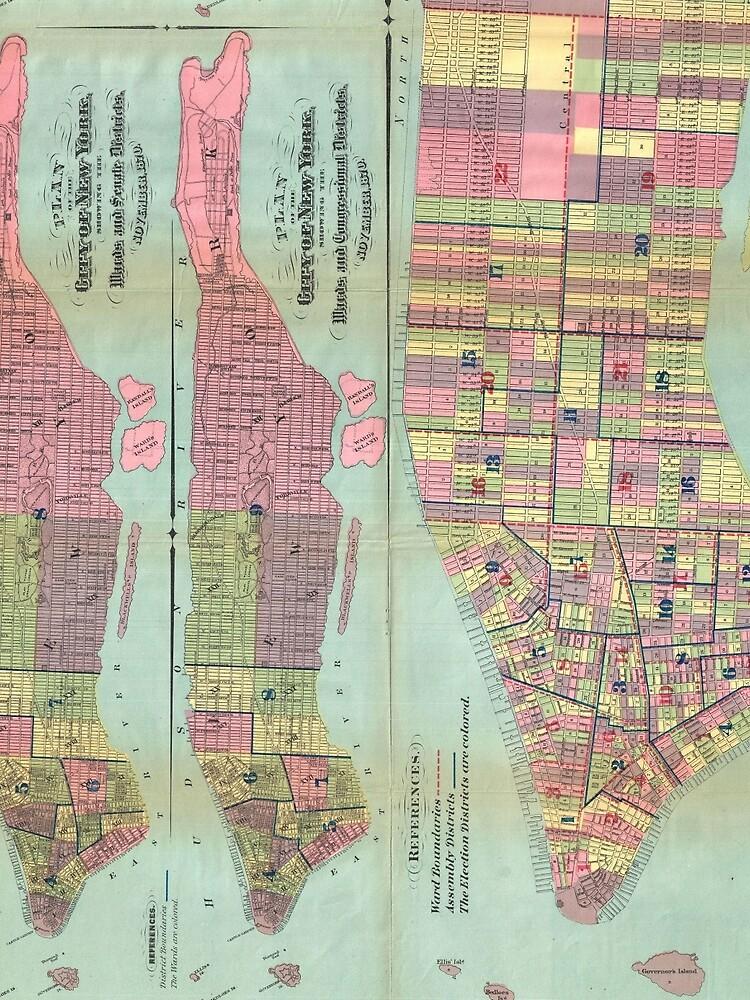 Vintage NYC Political Ward Map (1870) de BravuraMedia