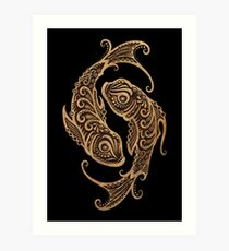 Rustic Pisces Zodiac Sign on Black Art Print