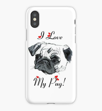 I Love My Pug! with Hearts -  iPhone or iPod Case iPhone Case