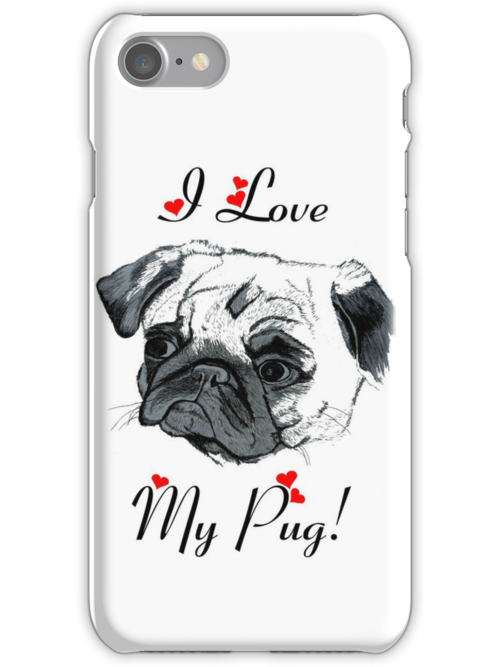I Love My Pug! with Hearts -  iPhone or iPod Case by Patricia Barmatz
