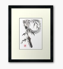 Moon blade bamboo sumi-e painting  Framed Print