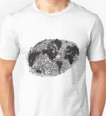 Globe Finger Print T-shirt: One Of A Kind Unisex T-Shirt