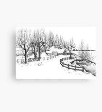 Winter in Holland - Pen Drawing Canvas Print