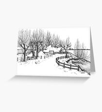Winter in Holland - Pen Drawing Greeting Card