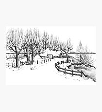 Winter in Holland - Pen Drawing Photographic Print
