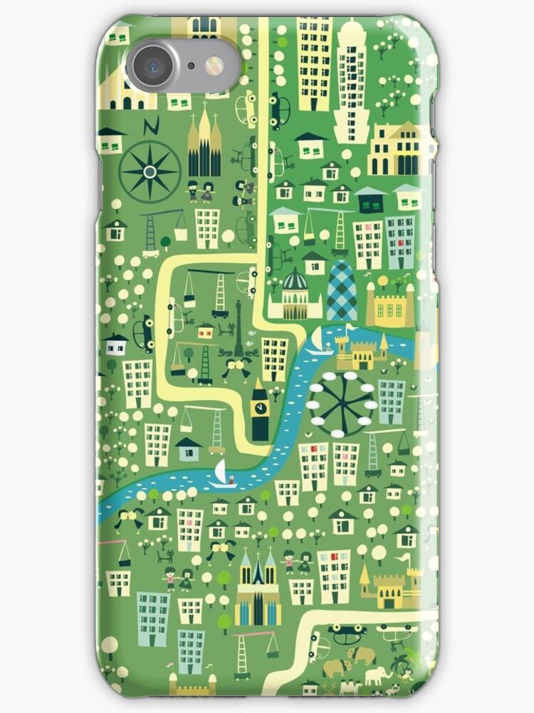 cartoon map of London iPhone 3,4- iPod case by Anastasiia Kucherenko