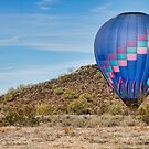 Blue Hot Air Balloon On The Desert  by Bo Insogna