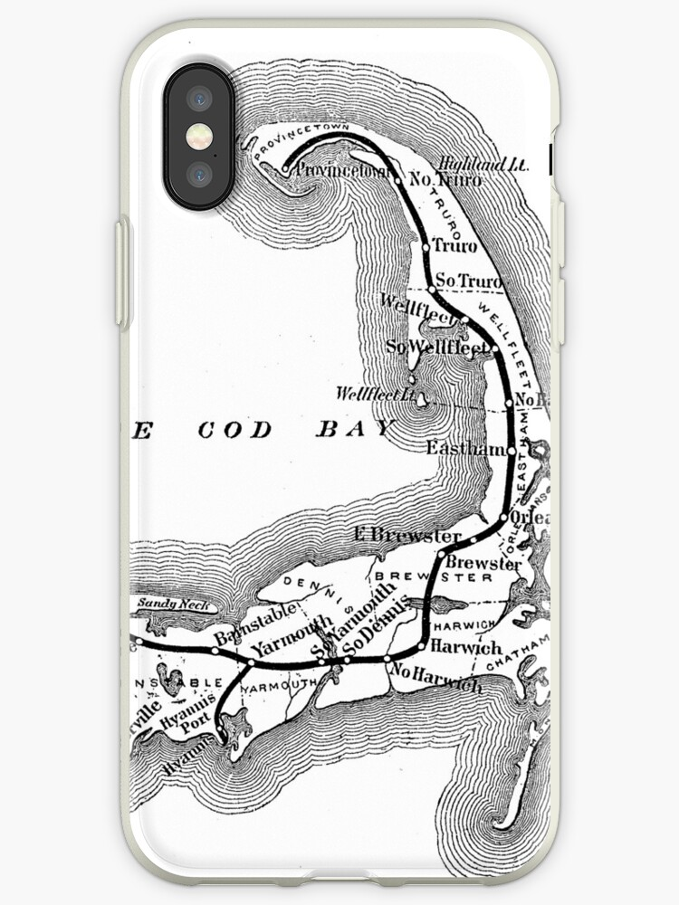 Vintage Cape Cod Old Colony Railroad Map 1875 Iphone Cases