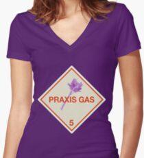 Hazardous: Praxis Gas Women's Fitted V-Neck T-Shirt