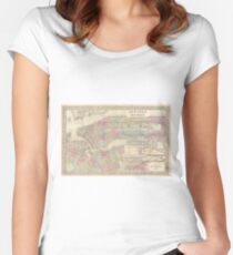Camiseta entallada de cuello ancho Vintage Map of NYC and Brooklyn (1882)