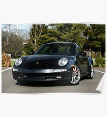 """Porsche 997 C2S - Black SAY """"PETROL"""" Poster"""