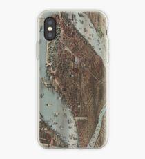 Vinilo o funda para iPhone Vintage Pictorial Map of New York City (1883)