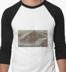 Camiseta ¾ bicolor para hombre Vintage Pictorial Map of New York City (1883)