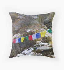 Prayer Flags, Annapurna Sanctuary Throw Pillow