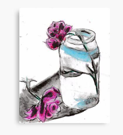 Flowers & Mason Jar Canvas Print