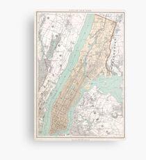 Lienzo metálico Mapa vintage de la ciudad de Nueva York (1895)