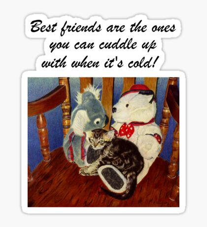 Rocking With Friends - Cat & Stuffed Animals iPhone Cases, T-Shirts & Stickers Sticker
