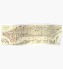 Póster Vintage Map of The NYC Railways (1899)