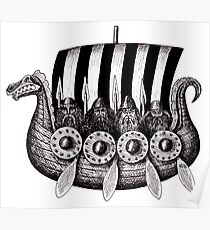 Vikings in the Drekar black and white pen ink drawing Poster