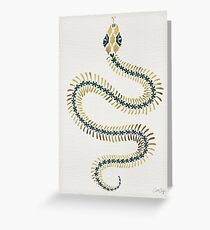 Snake Skeleton – Emerald & Gold Greeting Card
