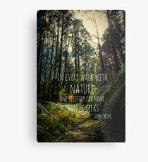 Lámina metálica En cada paseo con la naturaleza - John Muir