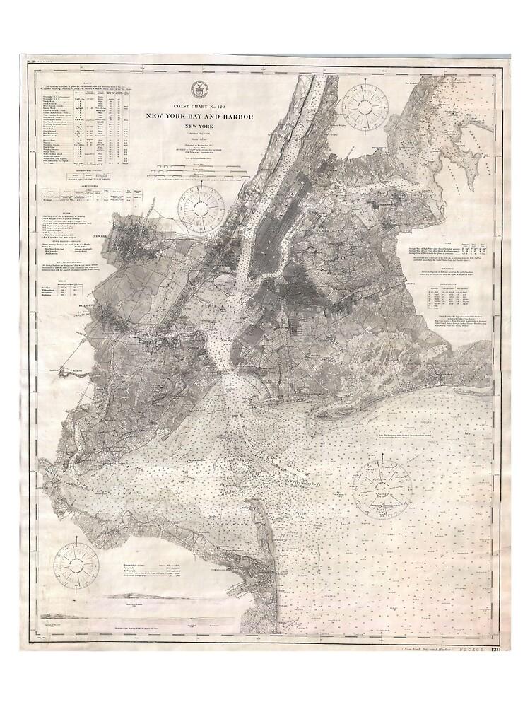 Vintage Coastal Map of New York City (1910) de BravuraMedia