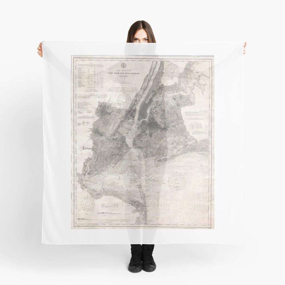 PañueloVintage Coastal Map of New York City (1910) Delante