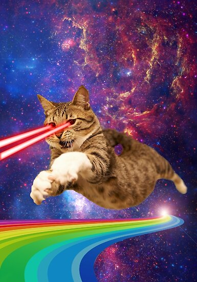 Quot Laser Cat In Space Quot Poster By Mickeyremnant Redbubble