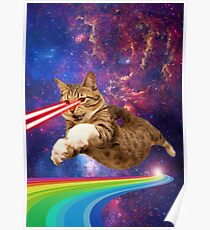 Póster Laser cat in space